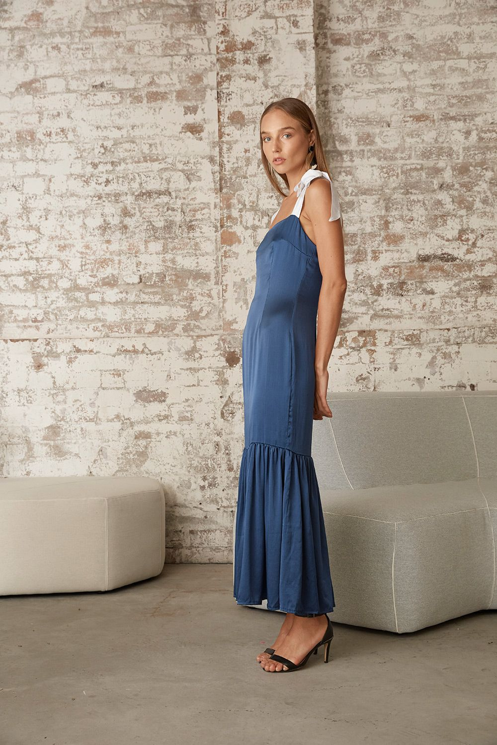 7152164efd14 ... 18 by MLM LABEL. The Amara Maxi in Lapis Silk from the SS18 collection  Fleur  du Jour  by