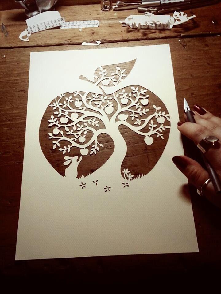 Image of Papercut DIY Design Template - u0027Apple Treeu0027 Paper panda - paper design template