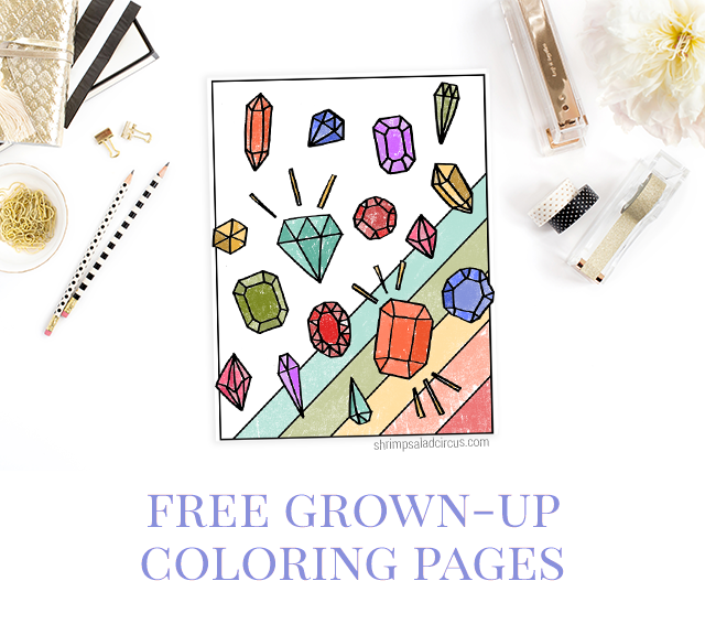 Free Gemstones Coloring Page - Shrimp Salad Circus