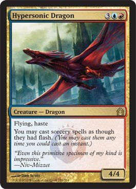 Magic: the Gathering - Hypersonic Dragon (170) - Return to Ravnica by Wizards of the Coast. $0.48. From the Return to Ravnica set.. A single individual card from the Magic: the Gathering (MTG) trading and collectible card game (TCG/CCG).. This is of Rare rarity.. Magic: the Gathering is a collectible card game created by Richard Garfield. In Magic, you play the role of a planeswalker who fights other planeswalkers for glory, knowledge, and conquest. Your deck of cards repre...