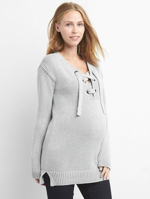 0e27c7ab7ade4 Gap Womens Maternity Lace-Up Sweater Tunic Light Heather Grey ...