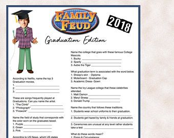 Graduation Party Game-Family Feud Style- Custom Download with your