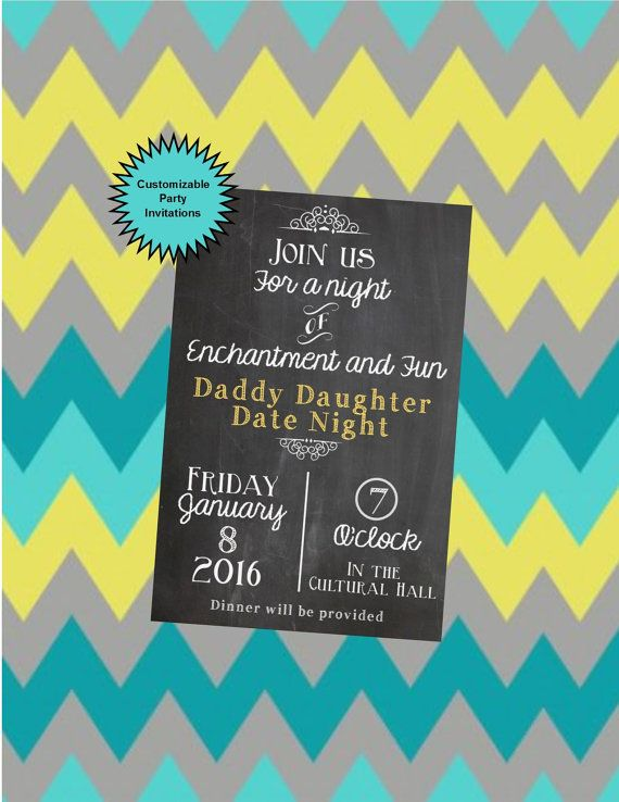 make your daddy daughter date a night to remember with this, Party invitations