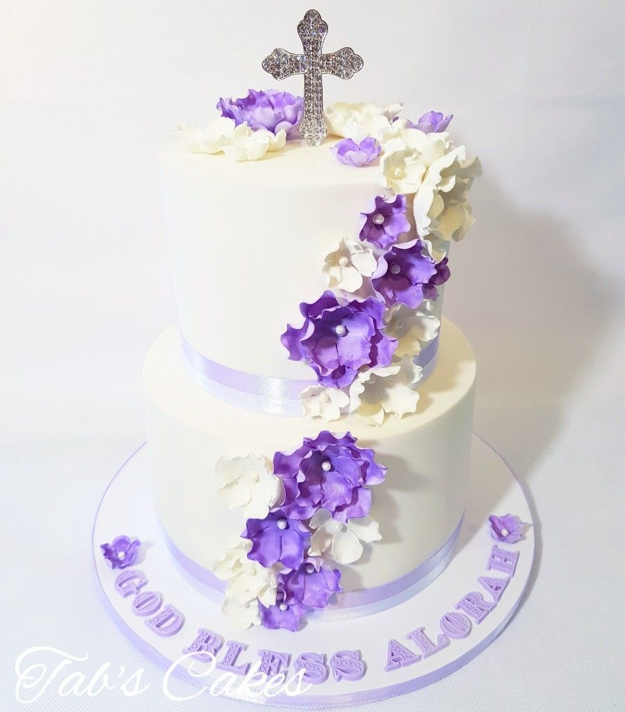 Christening Cake Purple White Edible Flowers | Cakes - Cakes ...