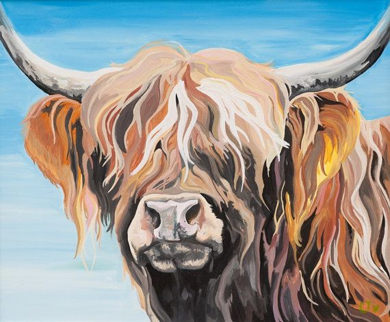 Hamish Limited Edition Giclee Print Of A Wonderful By Laurenscows 50 00 Highland Cow Painting Highland Cow Art Cow Painting