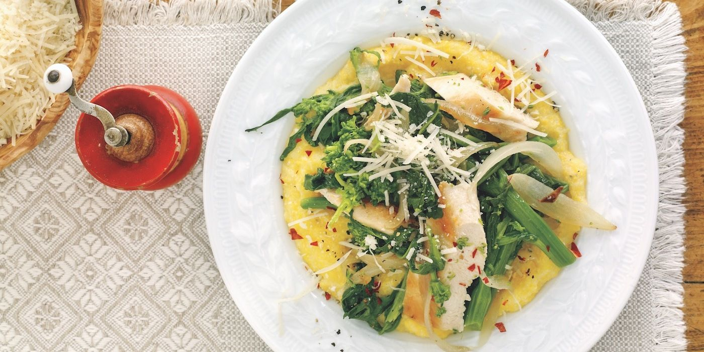 Chicken and broccoli rabe with polenta recipe with