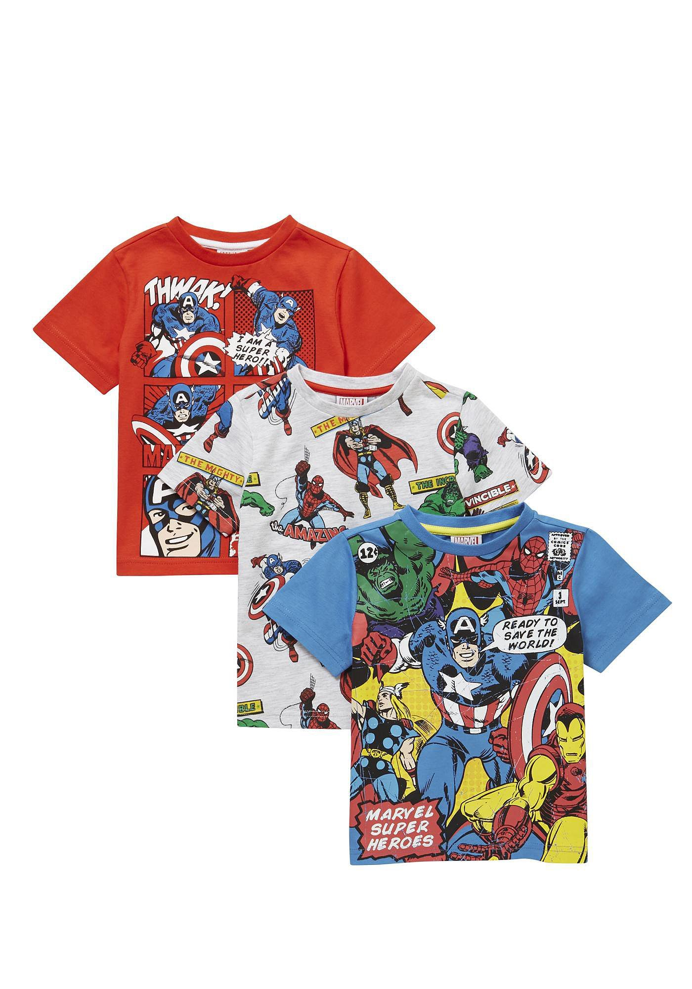 254ad998d8 Tesco direct: Marvel Avengers 3 Pack of T-Shirts | License | T shirt ...