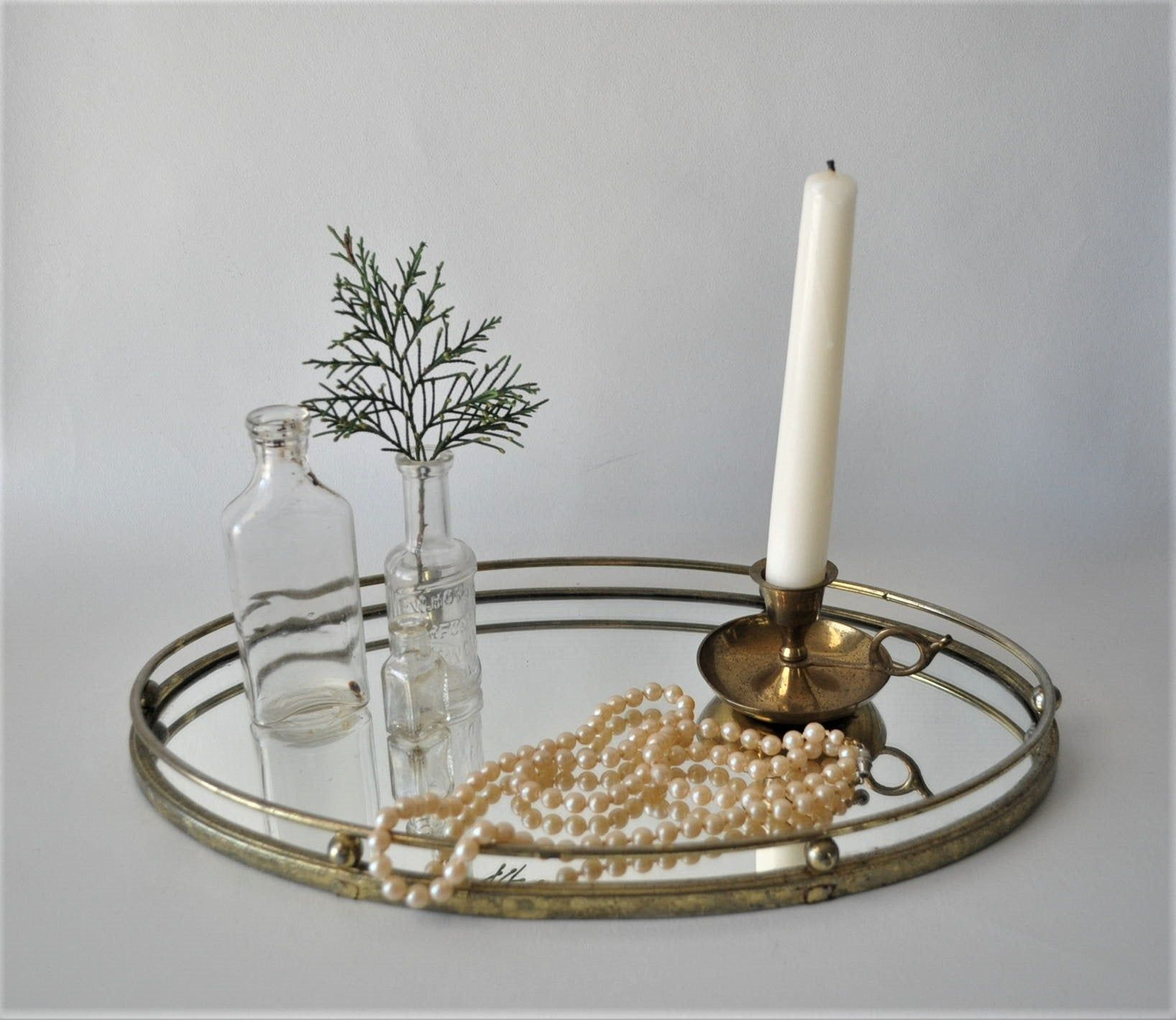 Vintage gold brass mirrored vanity tray / hollywood