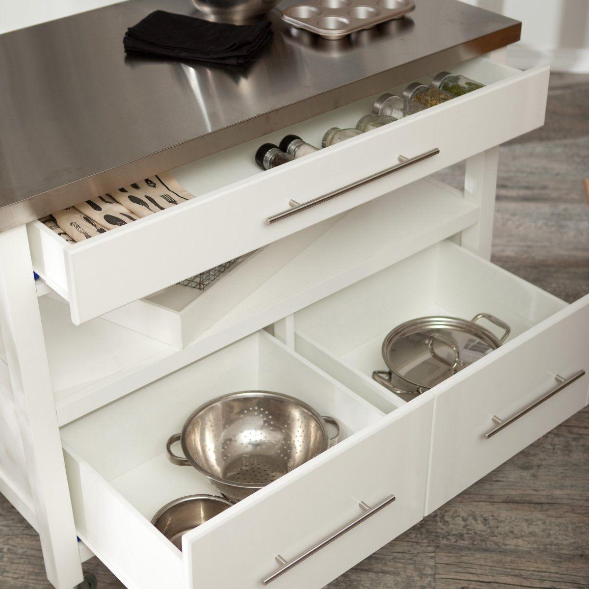 Portable island storage drawers kitchens pinterest - Small kitchen island with storage ...