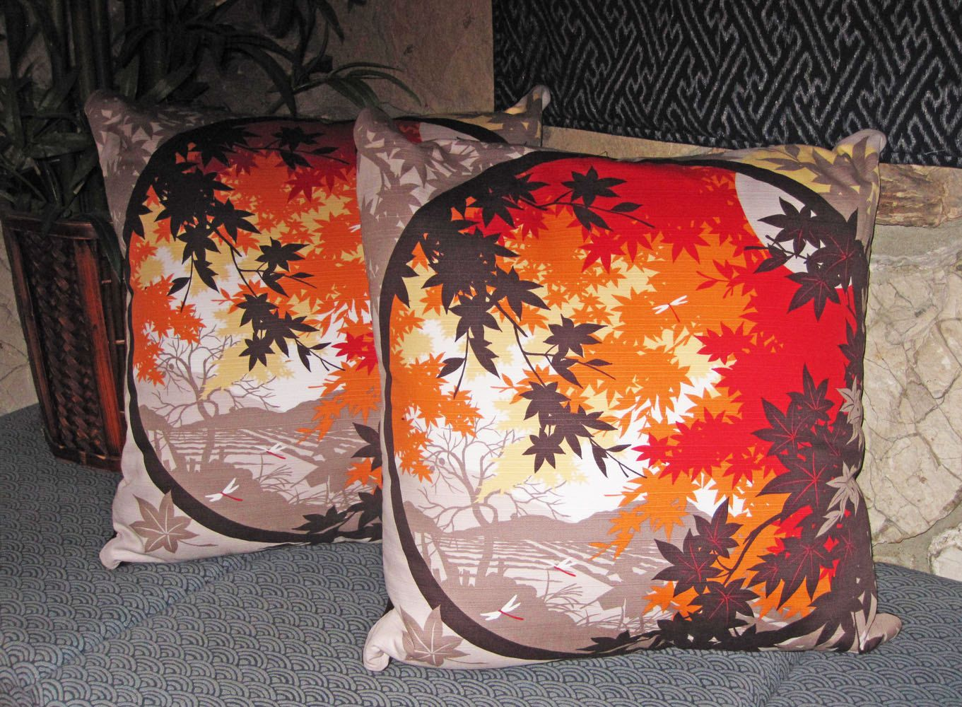 Decorative pillow zippered covers set of japanese autumn maple