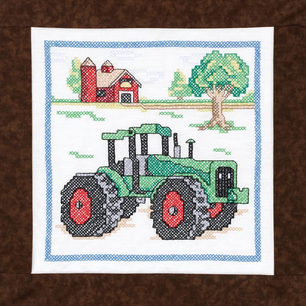 """Stamped Cross Stitch Quilt Blocks 15""""X15"""" 6/Pkg-Tractor"""