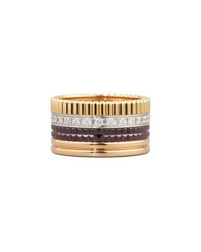 Classic Quatre 18k Gold Large Diamond Band Ring, Size 4.5