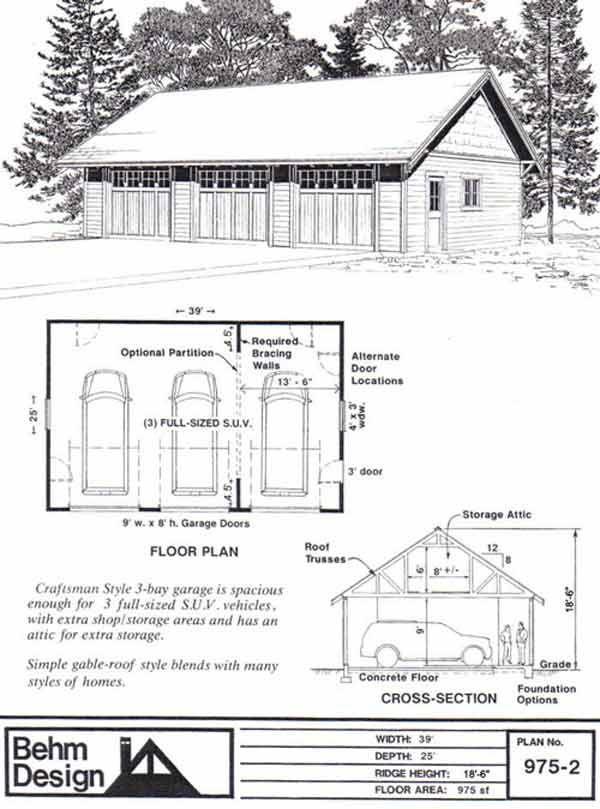 3 Car Craftsman Style Garage Plan 975-2 by Behm Design