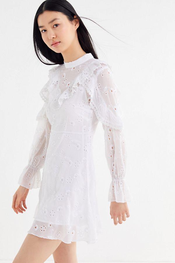 Uo Eyelet Ruffle Mock Neck Mini Dress In 2019 Mock Neck
