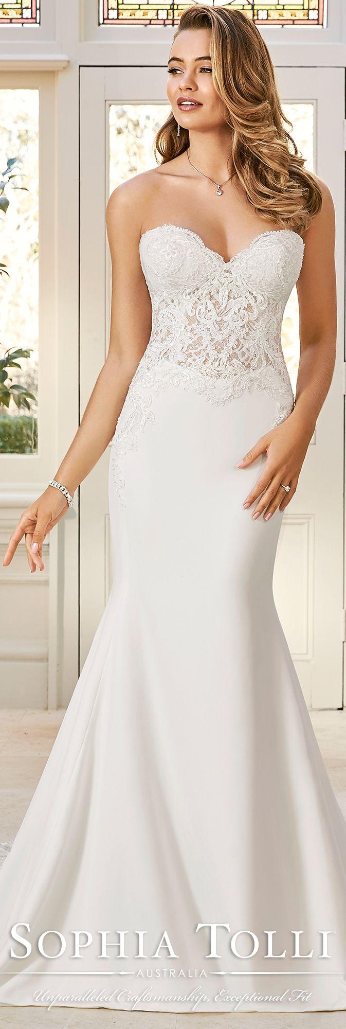 458ecc2fbf49 Stretch Crepe   Allover Lace Fit   Flare WEdding Dress- Y11943 ...