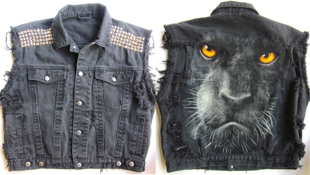 Vtg Levis Black Panther Punk Studded Ripped Cut Off Denim Jacket