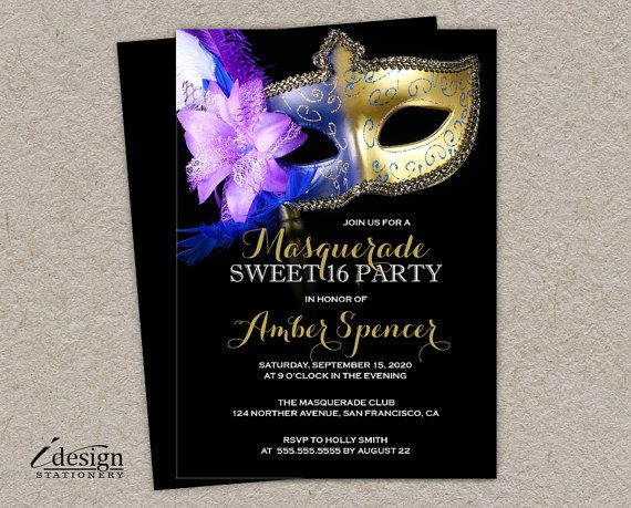 Sweet 16 Masquerade Invitation Diy Printable By Idesignstationery Masquerade Invitations Masquerade Party Invitations 50th Birthday Party Invitations