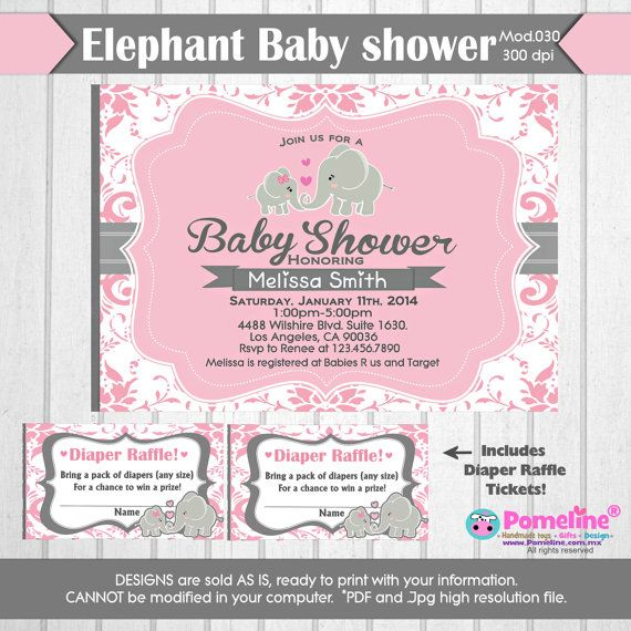 Printable Duo Invitation And Diaper Raffle By PomelineStudio · Diaper Baby  ShowersElephant ...