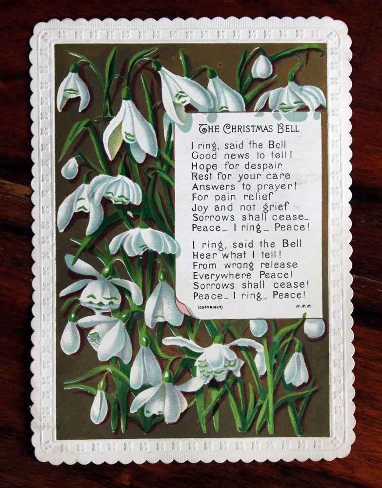 Fine Victorian Christmas Card Snowdrops Poem The Christmas Bell Peace Victorian Christmas Christmas Bells Christmas Cards