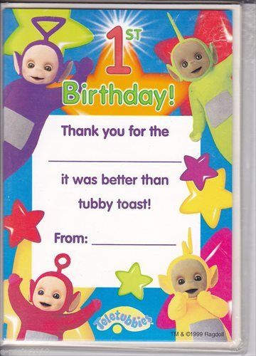 Teletubbies 1st Birthday Thank You Notes W Evnvelopes 8ct