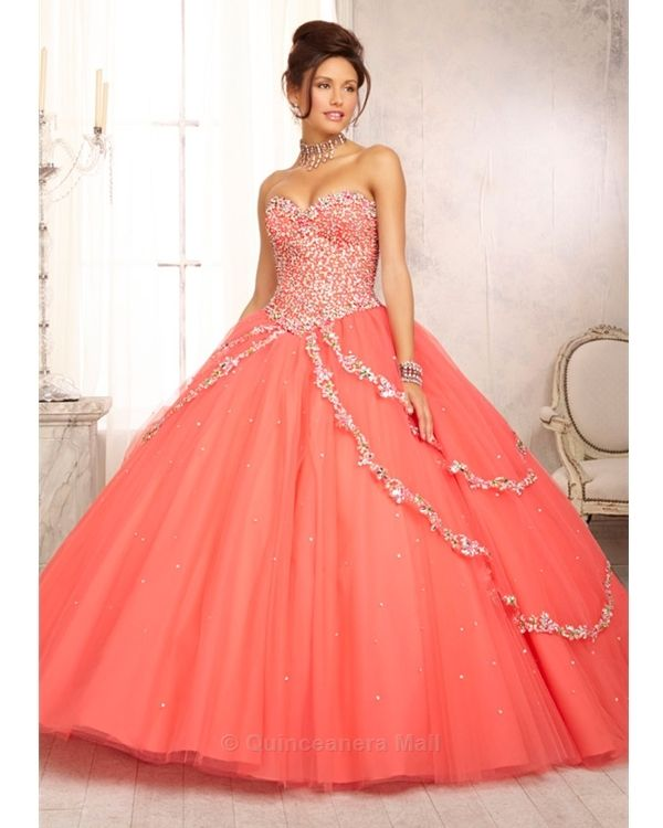 df8d24bc64 Quinceanera Dress  88091 Style 88091 Multi-Colored Jewel Beaded Bodice on a  Tulle Ball Gown Skirt with a Sweep Train find more women fashion on  misspool.com