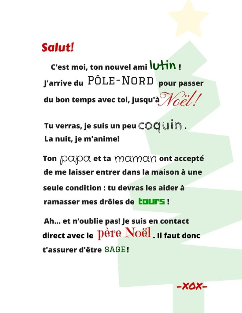 Lettre De Noel Lettre du lutin (Version la méMÈRE) | Lutin, Lettre pere noel