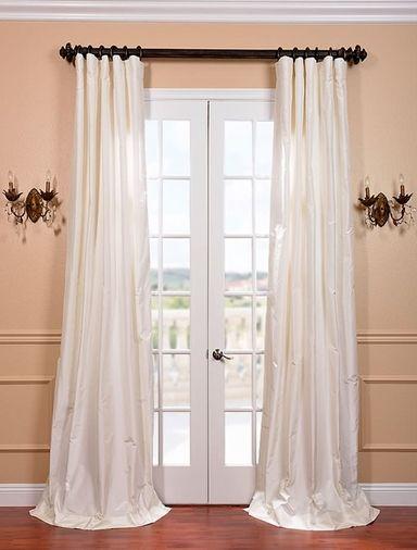 White Satin Silk Taffeta Curtain Shtory