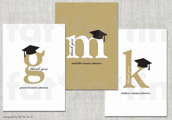 Classic Monogram Mortar Board Printable Graduation Thank You Card | Custom Modern Stylish Collage Graduate Grad Postcard PRINTED /PRINTABLE