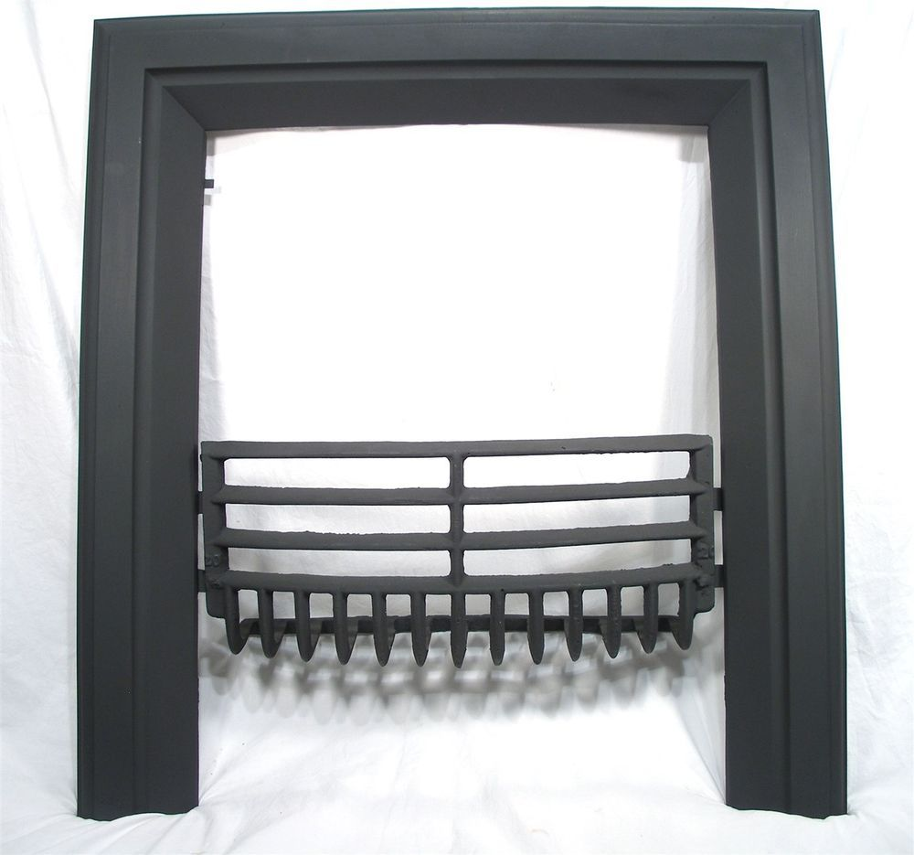 ANTIQUE ART DECO CAST IRON COAL FIREPLACE DOOR FRAME SURROUND ...