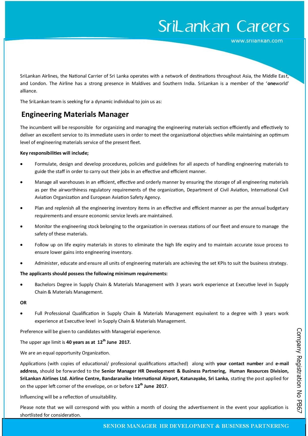 engineering material manager at sri lankan airlines careerfirst - Airline Management Jobs