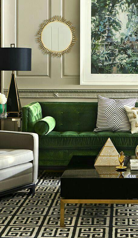 Elegant Neutral Interior Black Gold And Emerald Green Jonathan
