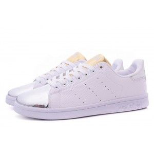 480bef6a040a adidas Women Originals Stan Smith White Silver Sneakers Shoes Sale ...