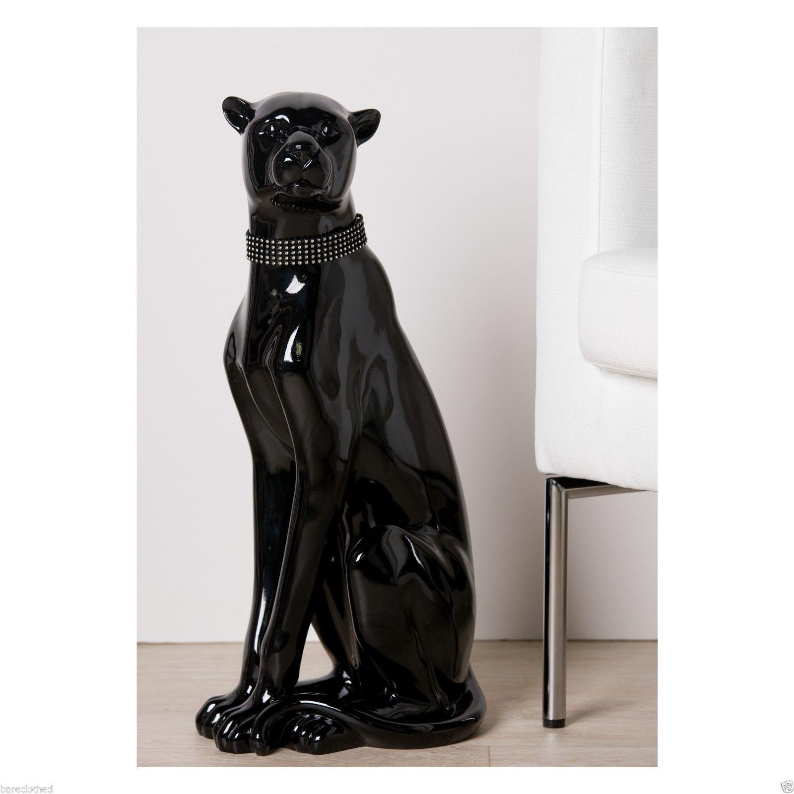 Luxury design figurine large black panther wild cat statue