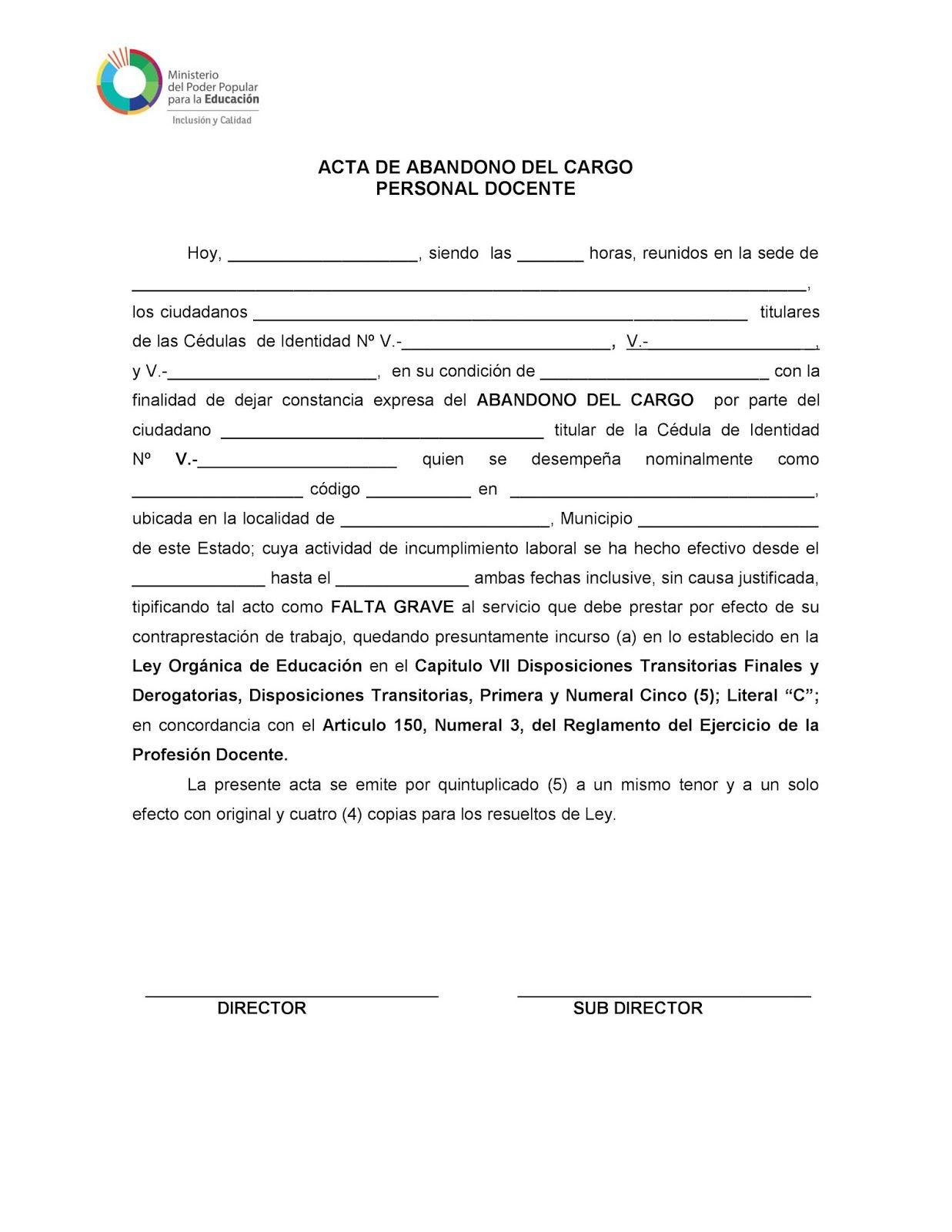 Acta De Abandono Del Cargo Personal Docente Obreros
