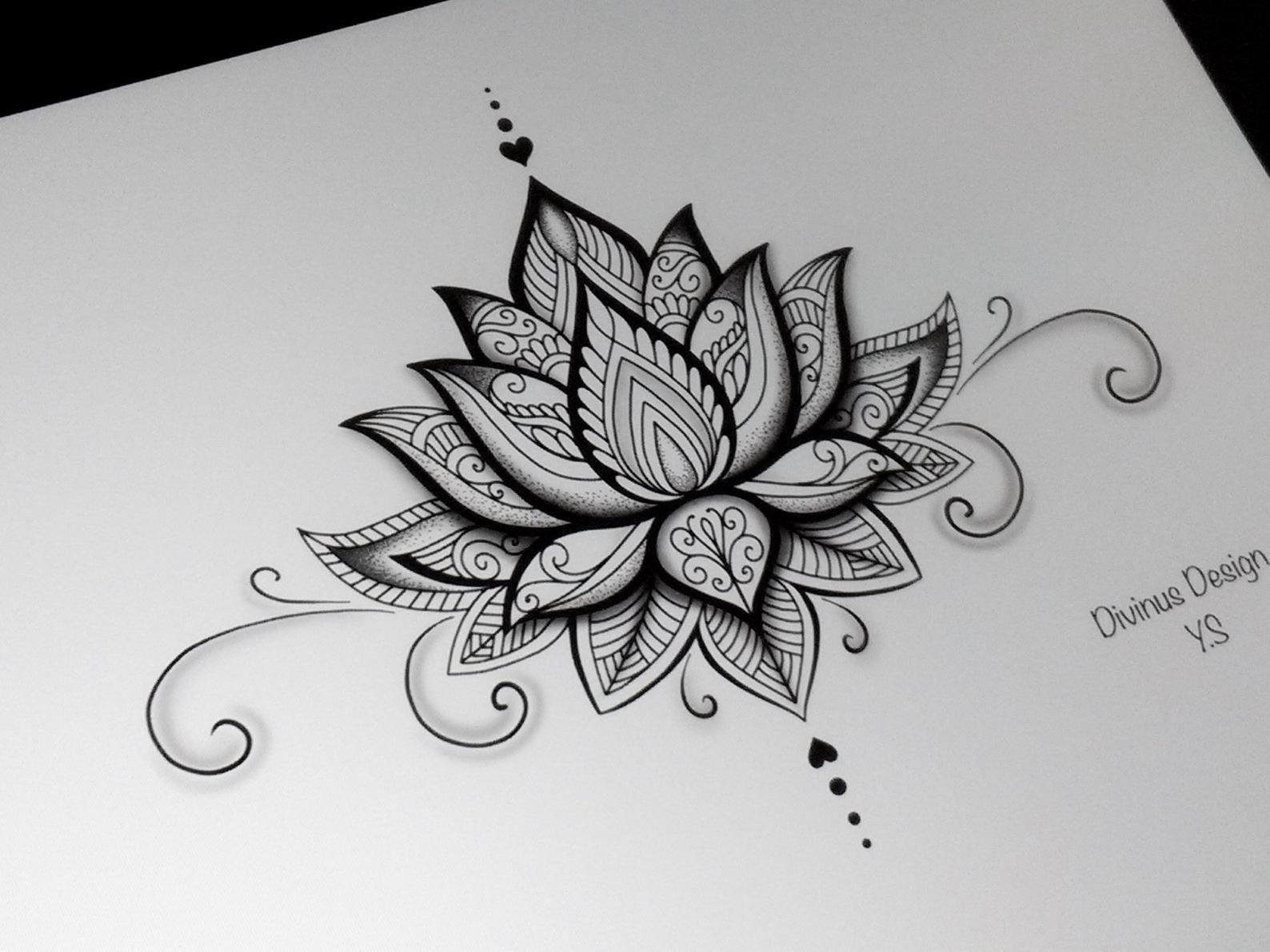 Lotus Mandala Tattoo Design and Stencil/Template - Instant Digital Download