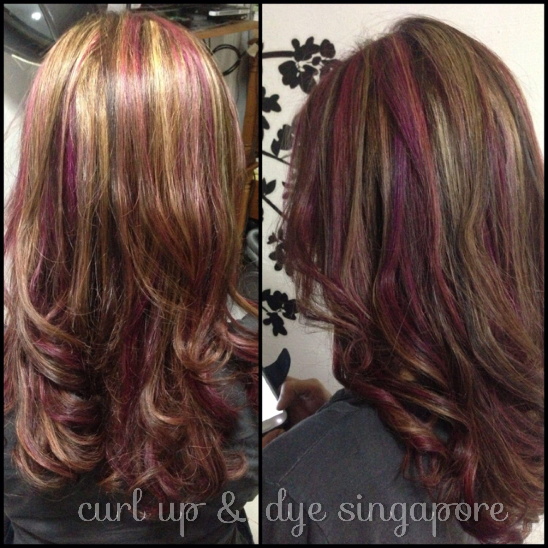 Blonde Honey Pink Highlights On Asian Hair Curl Up Dye Hair