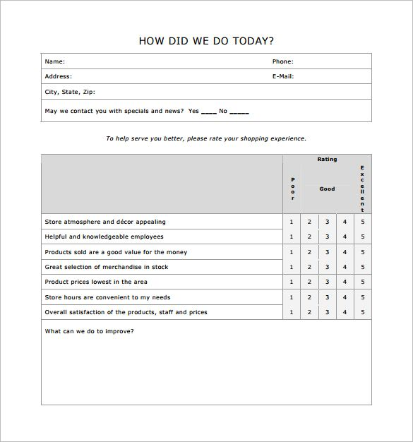 Restaurant Comment Card Template 4974 garden bar Pinterest - feedback form template