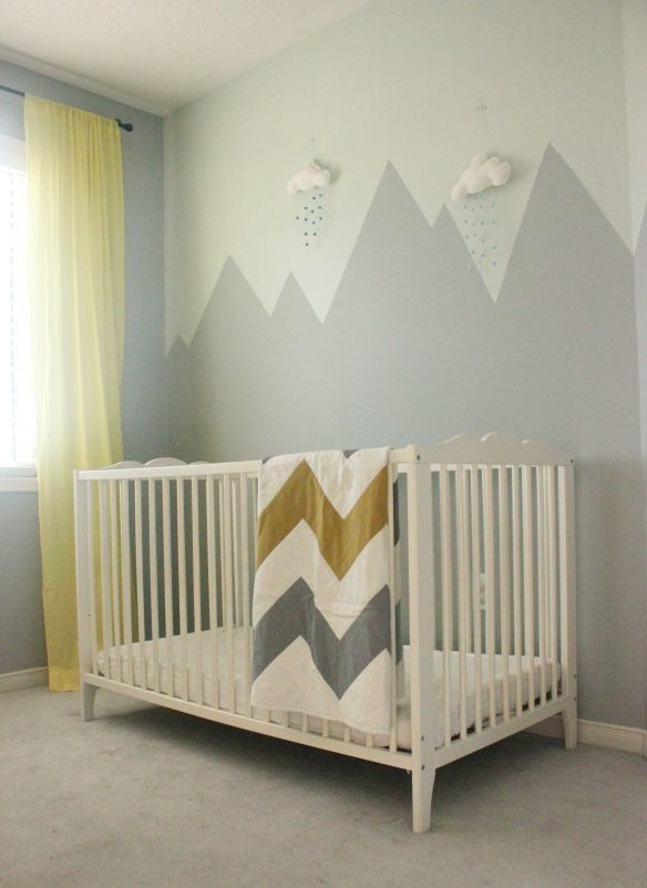 Mountain mural the makings of a ron swanson nursery for Baby girl room wall murals
