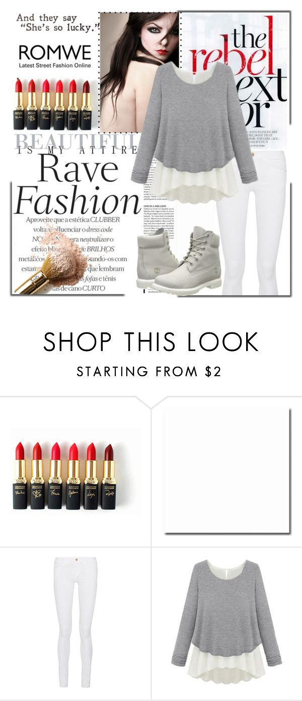 """""""ROMWE"""" by mindak ❤ liked on Polyvore featuring L'Oréal Paris, Frame Denim, Timberland, women's clothing, women, female, woman, misses and juniors"""