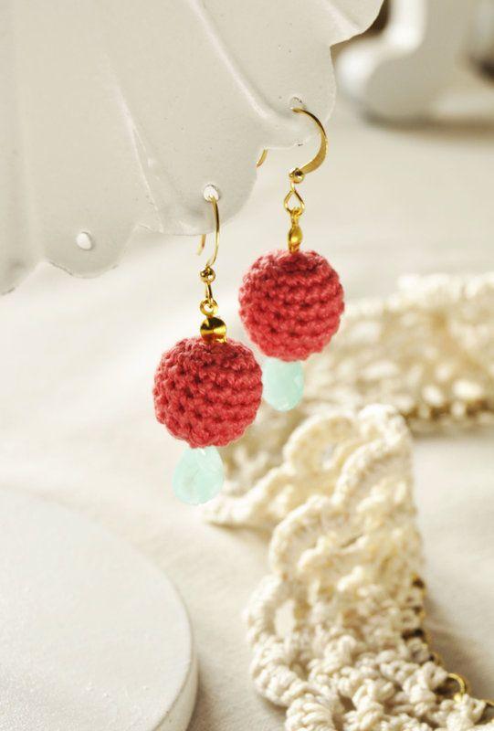 Coral Crochet Bead Earrings w/ Seafoam Teardrops