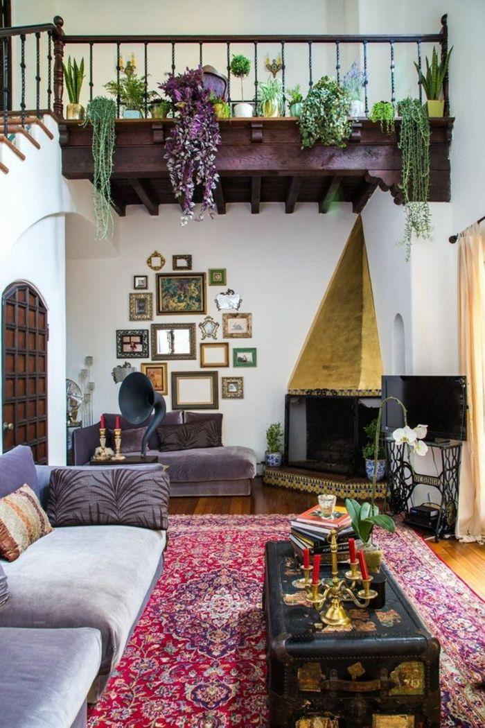 1001 ideas de salones modernos decorados en estilo for Decoracion bohemia vintage