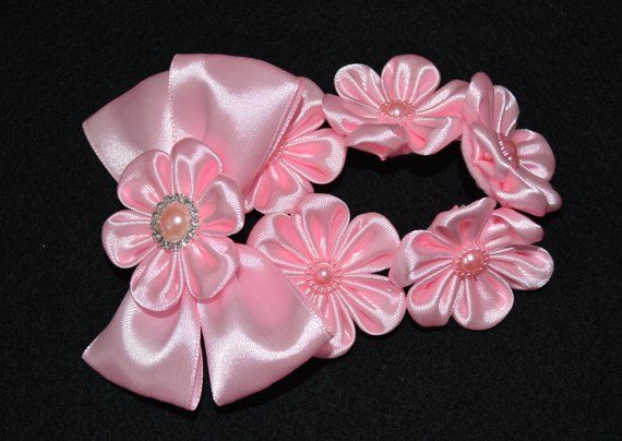 Handmade Girl's Pink Flower Bun Wrap/Top Knot, Kanzashi Style, Christmas, Ballet, FREE UK Delivery