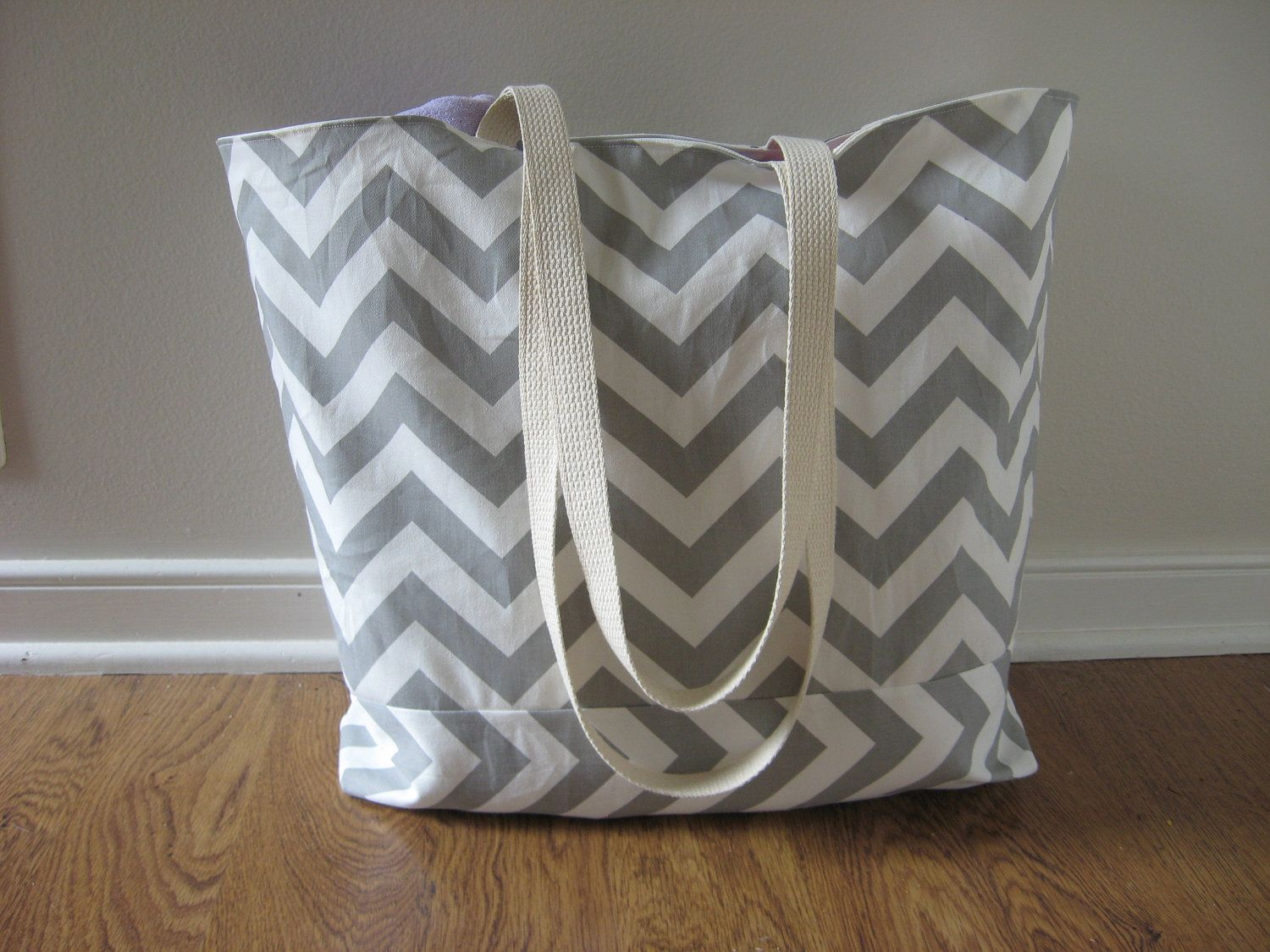 Large Beach Tote, Chevron Beach Bag, chevron tote bag Grey. $39.99 ...