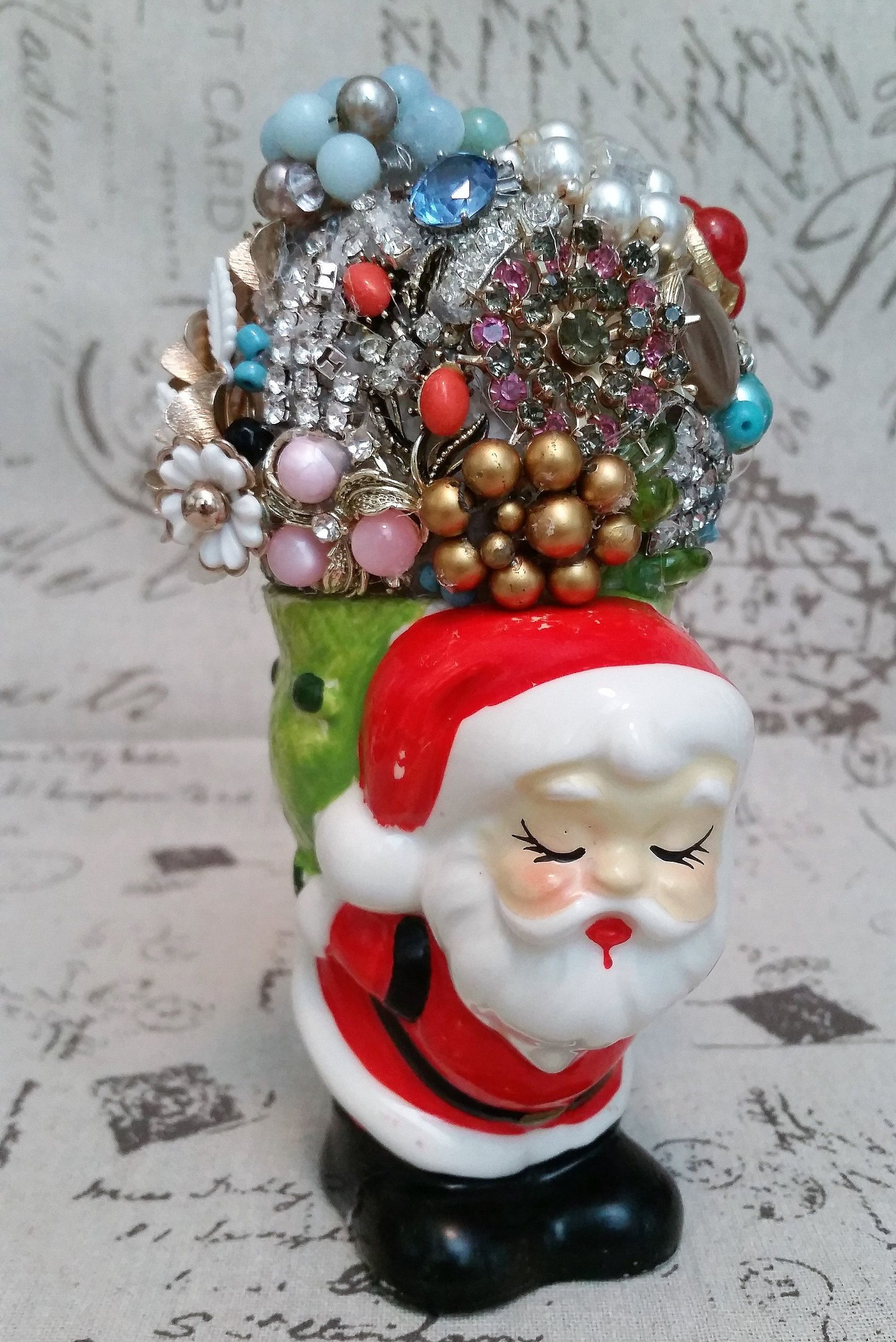 Vintage Jewelry Christmas Santa W Gift Bag Loaded With Rhinestones,