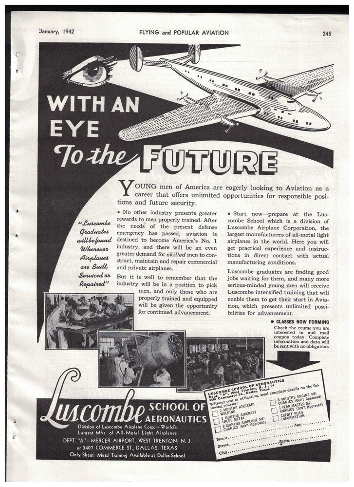 luscombe school of aeronautics with an eye to the future 1942 ad rh pinterest com Wiring Diagram Symbols Simple Wiring Diagrams