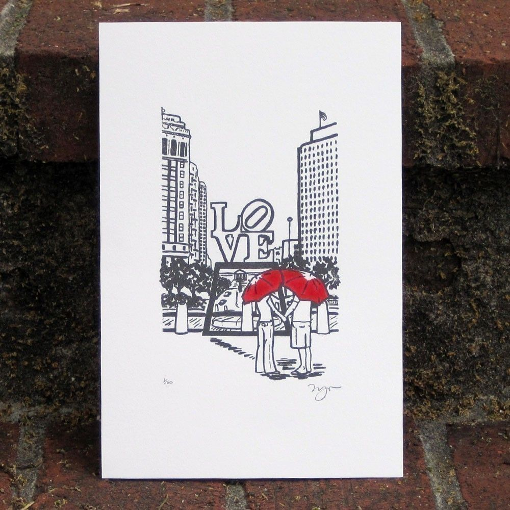 Philly Love gocco art print- GRAY. $15.00, via Etsy.
