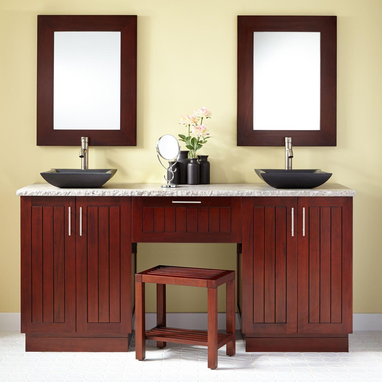 "72"" Montara Mahogany Vessel Sink Double Vanity with Makeup"