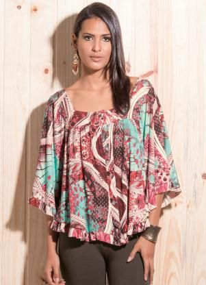 933d407be Blusa Ampla com Mangas Morcego Estampada - Quintess | A la mode em ...