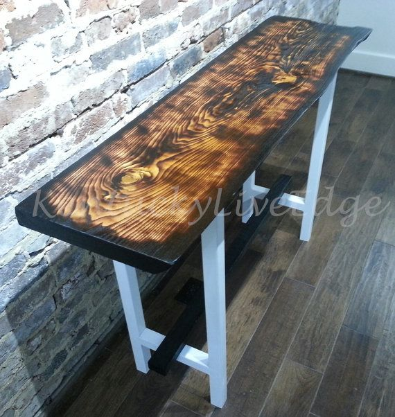Modern Console Table, Live Edge Console Table, Kentucky Coffee Tree, White  Steel,