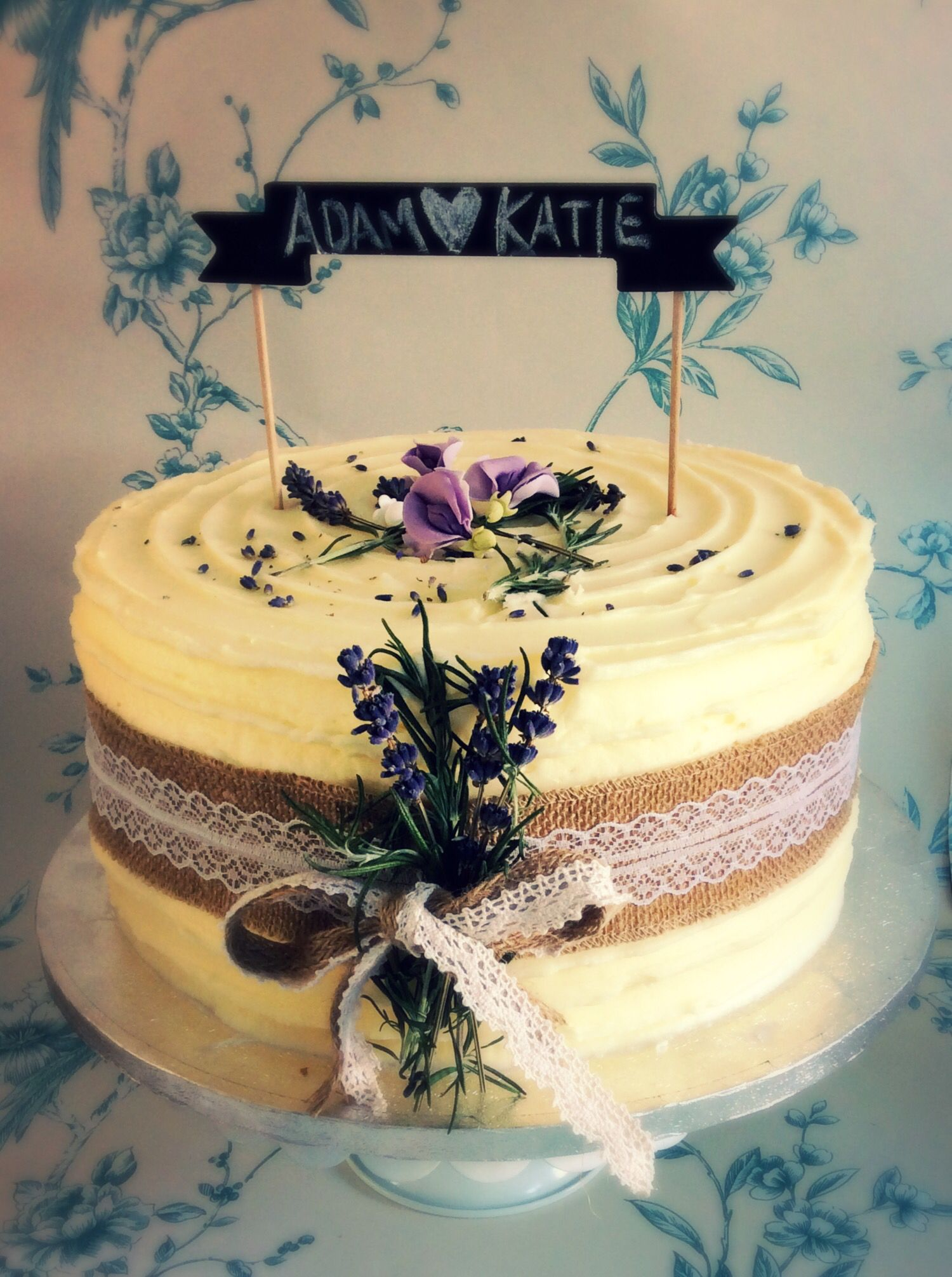 Rustic buttercream lavender wedding cake with hessian and lace ...